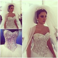 Cheap Vestido De Noiva Vintage Arabic Ball Gown Wedding Dresses 2015 Bling Rhinestone Crystals Tulle long corset Church Dubai Bridal Dress