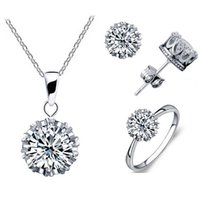 aqua fine - Wedding Fine Jewelry Sets Cubic Zircon CZ Pendant Necklaces Earring Rings Engagement Set crown set