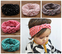 elastic crochet - baby polka dot crochet headbands girls Christmas hair braided head wrap infant cross style elastic headband babies Boutique hair accessories