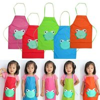 Wholesale 2015 New Cute Kids Child Children Waterproof Apron Cartoon Frog Printed Painting Cooking Apron in stock