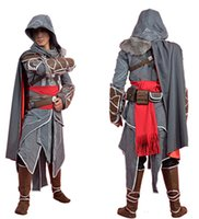 costume ezio achat en gros de-2015 Assassin's Creed Revelation Ezio Thick Denim Cosplay Costume Halloween pour hommes Costume Custom Made Any Size Drop shipping