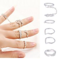 Wholesale 1Set New Popular Golden Leaf Midi Finger Knuckle Stack Rings Fine Jewelry Fashion Design For Women