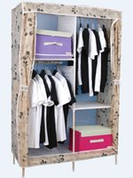 Wholesale fuanhe fold wardrobe solid wood simple and easy armoire Oxford cloth