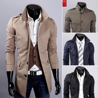 Wholesale 2015 New Fashion Men Cotton Coats Winter Woolen Slim Trench Coats Long Double Breasted Turn down Collar Plus Size Black Brown Trench Coat