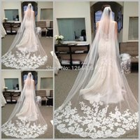 Wholesale 2015 Rushed Vestidos Meters Long Bridal Veils Elegant Wedding Veil with Lace for Edged White Ivory One Layer Sheer Applique Accessories