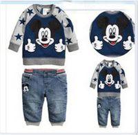 no brand Boy Winter 2015 Boys Mickey Tee Set Baby Handsome Casual Denim Kids Clothing The New Cartoon Spring Coat