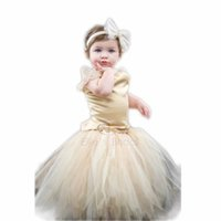 baby wedding outfits - Elegant Hand woven Baby Girls Tutu Dress suit For st birthday party Infants flower girls outfit for wedding Beige
