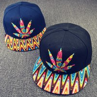 Wholesale Colorful Baseball Hat caps snapbacks Hip hop Rasta Leaf Pot Flat Pop Bill Snapback Baseball Cap hats