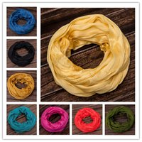 Wholesale High quality thin model Solid color silk scarf fold female and male winter scarf Circle Loop scarf circle ring scarf Tie dye scarf big shaw