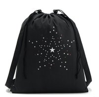 Wholesale 2016 Cheap bag New Black Sports Canvas Drawstring Bucket Bag Outdoor Sports Backpack Casual Star Pocket Bag
