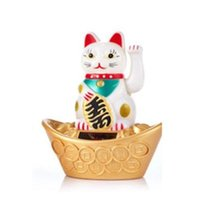 beckoning cat - Solar Powered quot Maneki Neko Welcoming Lucky Beckoning Fortune Ingot Cat White