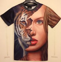 beauty geek - w1209 Amy fashion Spring Summer d men t shirt beauty Half a face of a cat printing man tshirt geek camisas Size M XXL T06