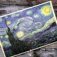 Wholesale Wall stickers home decor Van gogh series oil painting starry night cafe Retro posters posters for walls