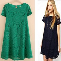 Wholesale Fashion Autumn European American style women Babydoll Mini dress A line short sleeve Novelty lace dresses O neck plus size xl xxl xxl s