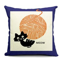 Wholesale Simple Europe Style Cute Cartoon White Black Cat Thick pounds Print Sofa Office Pillowcase Pillow Cover Cushion Hotel Home Decoration Hot