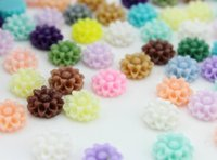 Wholesale 250pcs mixed colors mm round daisy dahlia flower cabochon resin flower for scrapbooking phone cases diy