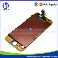 Wholesale iPhone G LCD Assembly with Touch Screen and white Digitizer Frame Plated Gold for iphone5