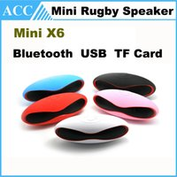 Wholesale Mini X6U X6 Rugby Football Bluetooth Stereo Speaker Mini Portable Wiress Bluetooth Speaker With MIC USB TF Card Slot FM Handfree DHL