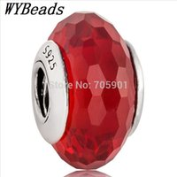 Cheap New! 925 Sterling Silver Floating Charm Murano Glass Abstract Faceted Red Ball European Charms Beads for Bracelet DIY Jewelry