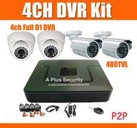 Wholesale 4CH CCTV System with IR Outdoor Cameras IR Dome Camera CH DVR Kit for DIY security camera system