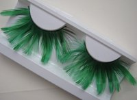 artistic promotions - pairs Green Art thick false eyelashes feather exaggeration artistic big promotion