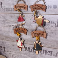 angels plaques - Deal Antique imitation Vintage Countryside Style Angel design welcome plaque wood craft for home shop decoration set