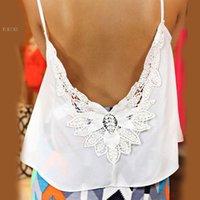 Cheap Plus Size S-XL 2015 Hot Women Tank Tops V-Neck Lace Patchwork Slim Bodycon Sexy Summer Women Casual Shirt Blusa De Renda 10