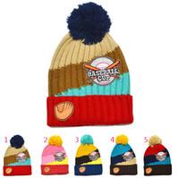 baby softball - Retail Unisex Baby Softball Letter Stripe Beanies Child Winter Warm Knit pom pom Hats Cap M Kids Accessories MZ3050