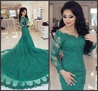 arabic dress designers - Designer Arabic Turquoise Green Mermaid Evening Dresses Long Sleeves Cheap Sexy Lace Appliques Formal Party Prom Gowns Celebrity Dress