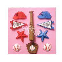 baseball chocolate mold - M0912 Fashion Sports Series of Baseball Hats Stars Gloves Win Flags Cake Mold Chocolate Mold for the Kitchen Baking Decorations