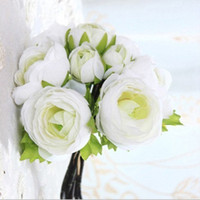 artificial ranunculus - Artificial Ranunculus Bouquet in White Purple with greenery3 buds Tall for Beautiful silk wedding Bridal Bouquets home decro gorgeous