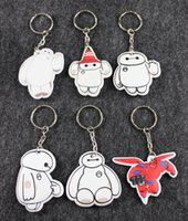 Wholesale Cartoon baymax keychains toys baymax s home Super hero big hero key chain pendant white small gifts