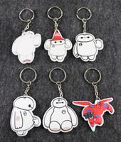 Wholesale Cartoon baymax keychains toys baymax s home Super hero big hero key chain pendant white small gifts