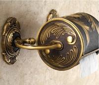 Wholesale Unique Creative Art Carved Toilet Paper Holder Antique Brass Tissue Roll Box