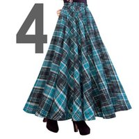 Cheap Free Shipping 2015 New Fashion Long Maxi Thick A-line Skirts For Women Elastic Waist Winter Plaid Woolen Skirts Warm With Pocket hot sale