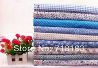 Wholesale 9pcs x50cm Mixed Blue Series Floral Plain Patchwork Cotton Fabric Quilt Home Textile Cloth Group for Sewing Tilda Cloth Crafts