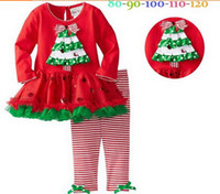Wholesale 2014 wintehot girls christmas outfits sets TUTU dress baby pettiskirt cotton long sleeve girl Christmas shirt and pant children clothing set