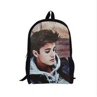 Wholesale Justin Bieber Super Star Printing Teen Girls Boys Student Scool Bags Children Shoulder Backpack Gift For Kids inches cm
