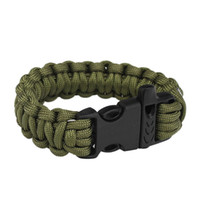 army bracelets rope - Army Green Men Self rescue Paracord Parachute Cord Bracelets Whistle Buckle Survival Camping Travel Kit