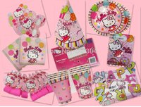 Wholesale hello kitty birthday party kit for children cup plate blowouts bag hat mask tissue table cover banner