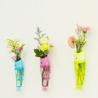 Wholesale New Home Decor Flower Vase Fish Wall Hanging Vase Wall Mounted Fish Shaped high quality