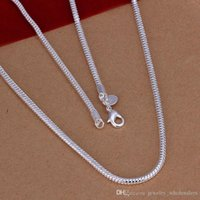 Wholesale 2MM inches sterling silver plated Snake Smooth Chain High quality Necklaces fine Jewelry mm DIY accessories for women