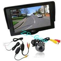 "Cheap 4.3"" TFT LCD Monitor Car Rear View Kit + Wireless Metal Reversing Camera Sensor 170 degree Waterproof 10pcs lot"