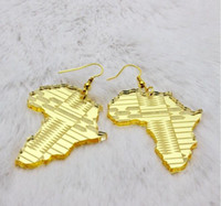 acrylic leaves - European Fashion Jewelry Hip Hop Acrylic Gold Leaves Jesus Pharaoh Africa Map Dangle Earrings For Women