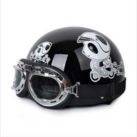 adult size scooters - IBK ABS Half Face Vespa Scooter Casco Motorcycle Bright Black Cute Bear Helmet amp UV Goggles For Adults Size M L XL