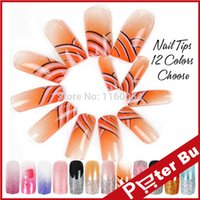 airbrush acrylic - New different styles Patterns choose Airbrush Predesign False French UV gel Acrylic Nail Art Tip Set
