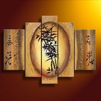 bamboo wall mirrors - Hand painted Artwork Dance Bamboo Beauty High Q Wall Decor Landscape Oil Painting On Canvas set Picture Art Free Shipment