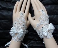 Wholesale Cheap New Arrival Bridal Gloves Wedding Gloves Lace Beaded Bow Lace Up Wrist Length Wedding Evening Bride Accessory