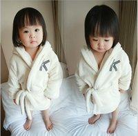 baby bathrobe - Winter Korean boys girls bathrobe flannel alphabet embroidery kids robes pure color warm and comfortable baby bathrobe GR384