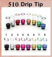 Wholesale 510 aluminum glass driptips mouth tips wide bore rda tip curved flat pyrex glass drip tip for e cigarette atomizer drip tips fj202